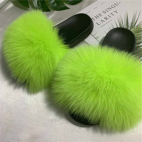 Hot neon Lime fox fur slippers