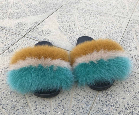 Wild heart fox fur slides