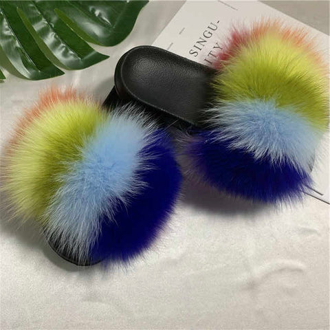 Sunsay fox fur slides