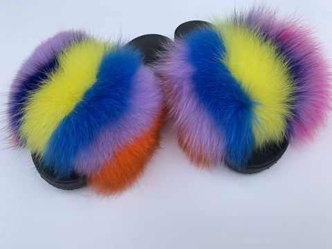 Dynasty fox fur slides