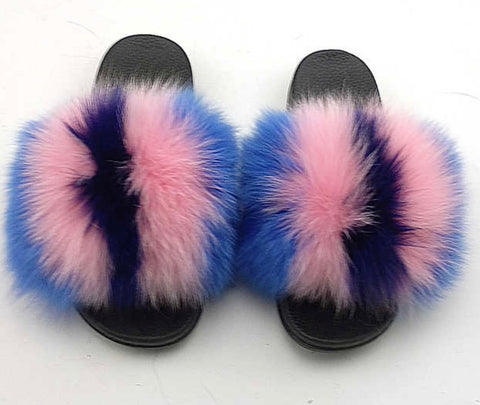 Wild Tingz fox fur slides