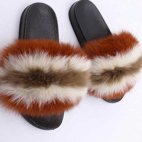 Peppy Fox fur slides