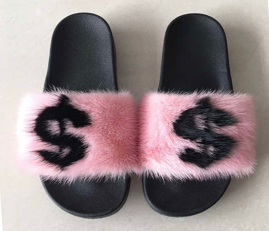 Pink Money mink fur slides