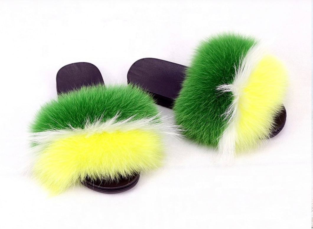 Patty fox fur slides green fur slides yellow fur slippers wh