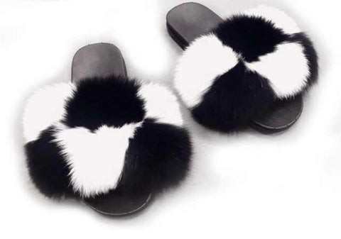 Checkmate fox fur slides