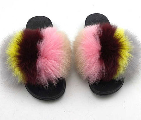 My type fox fur slides