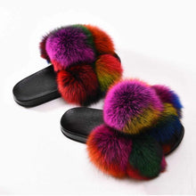 Load image into Gallery viewer, Pom Pom Fur Slides