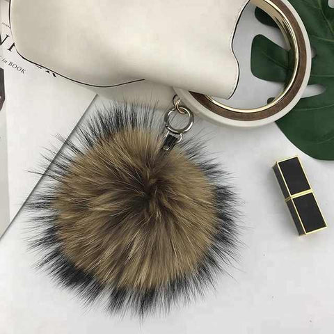 Natural raccoon fur key chain bag charm