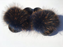 Load image into Gallery viewer, Navy orange raccoon fur slides - Feeling Fanci