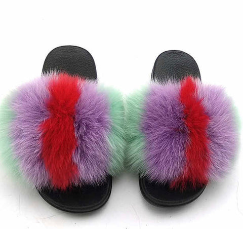 Cotton fox fur slides