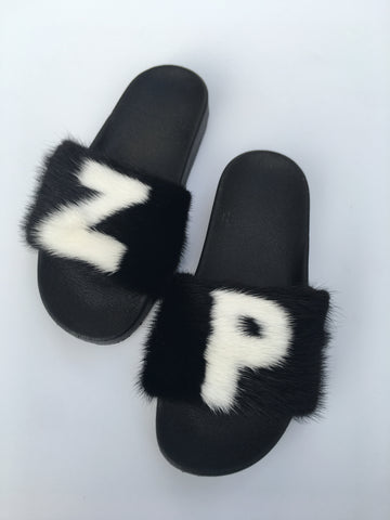 Custom Mink letter fur slides