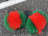 Stay here fox fur slides green fur slippers red fox fur sliders - Feeling Fanci