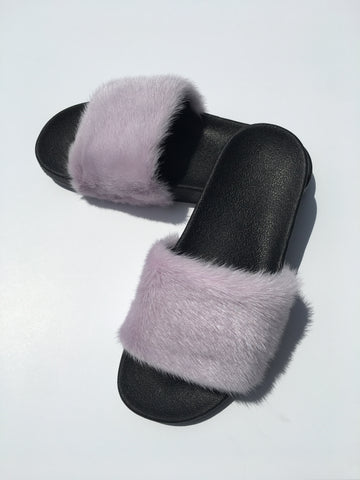 Take me out pastel purple mink fur slides mink fur slippers - Feeling Fanci