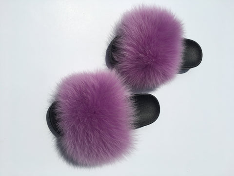 Lilac purple fox fur slides fluffy sandals - Feeling Fanci