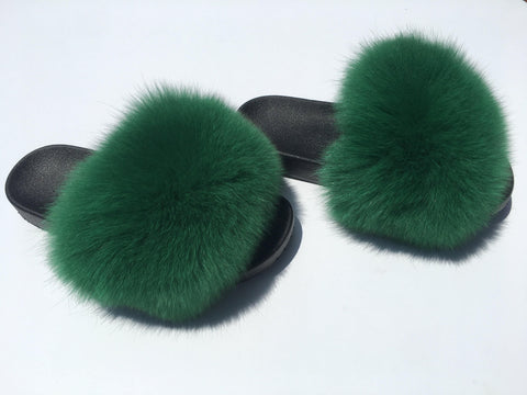 Green Fox Fur Slides - Feeling Fanci