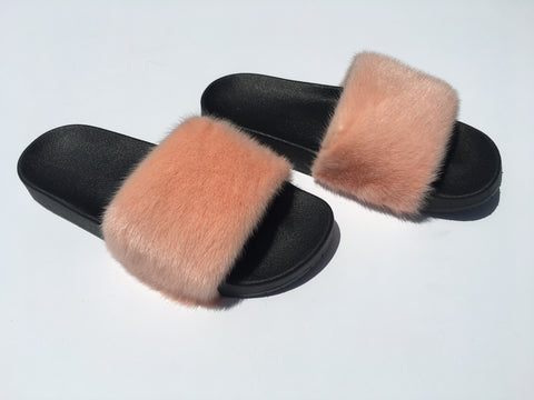 Peach mink fur slides mink slippers - Feeling Fanci