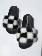 Load image into Gallery viewer, Check me out mink fur slides - Feeling Fanci