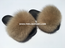 Load image into Gallery viewer, Nude fox fur slides fur slippers tan faux fur slides - Feeling Fanci