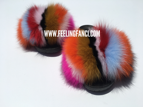 Multi color fox fur slides - Feeling Fanci