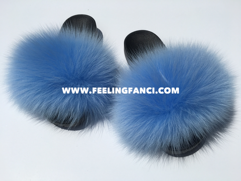 Blue fox fur slides comfy furslippers foxfur women's sandals - Feeling Fanci