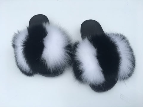Fox fur slides oreo mix - Feeling Fanci