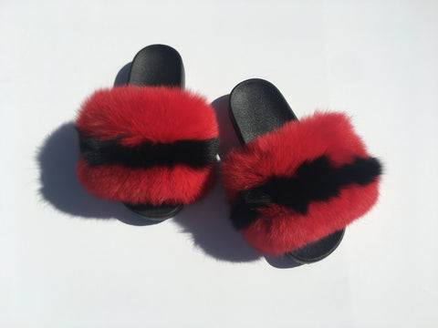 Mollypop fox fur slides red fur slides black fur slippers - Feeling Fanci