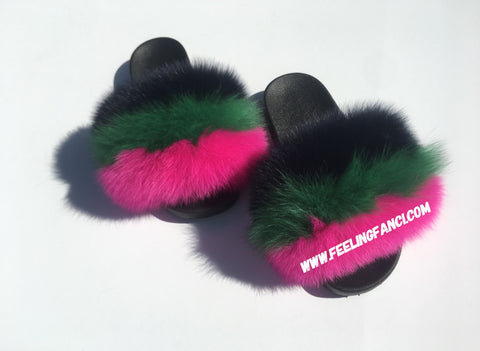 Carter fox fur slides fox fur slippers green faux fur slide pink fur slides - Feeling Fanci