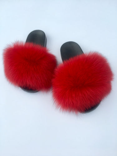 Red Fox Fur Slides faux fur slippers women's fur sliders - Feeling Fanci