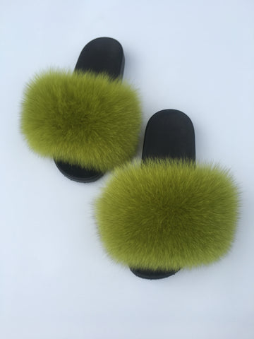 Lime Green galore fox fur slides slime green fur slides women's fur slippers fox fur sliders - Feeling Fanci