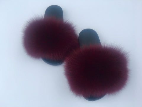 Burgundy fox fur slide women's fox fur sandals fur slippers - Feeling Fanci