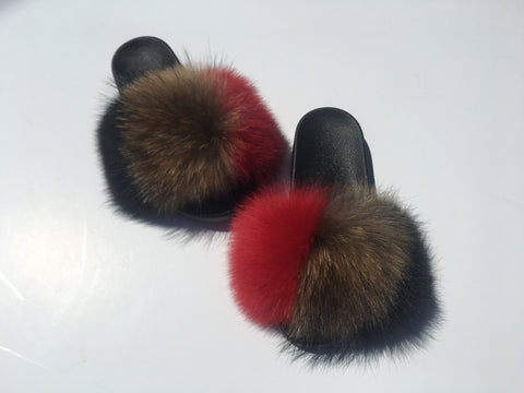 Call it love fox fur slides red fur slides natural fur slippers - Feeling Fanci