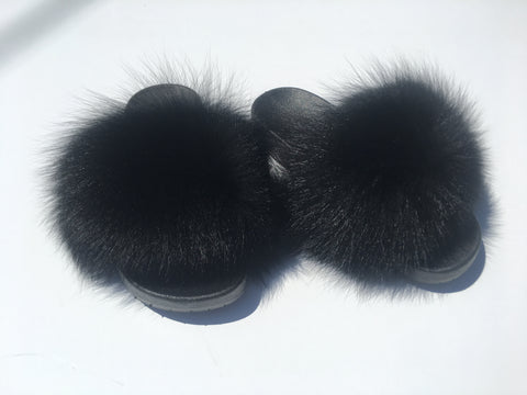 Fox fur Slides Black - Feeling Fanci