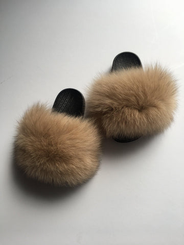 Kids nude fox fur slides tan fur slippers - Feeling Fanci