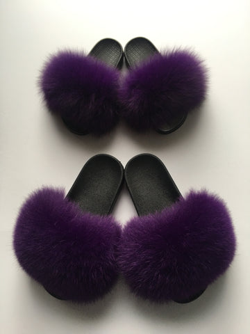 Mommy and mini me purple fox fur slides - Feeling Fanci