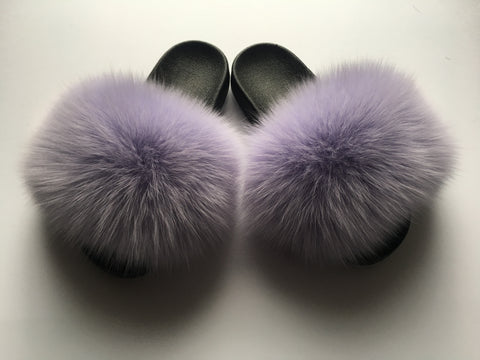 Pastel purple fox fur slides - Feeling Fanci