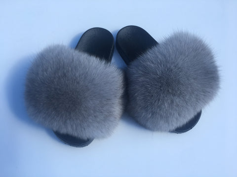 Cool grey fox fur slides - Feeling Fanci