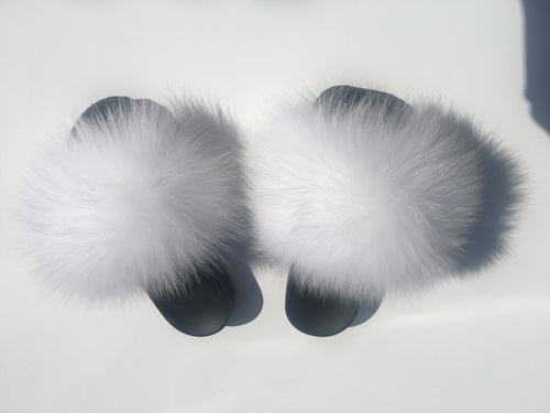 White fox fur slides snow fur slippers women's fur sliders - Feeling Fanci