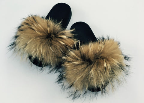 Natural raccoon furslides fluffy fur slippers comfy fur sandals women's fur shoes - Feeling Fanci