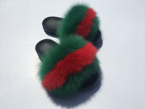 GG fox fur slides - Feeling Fanci
