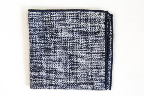 Navy Blue & White Wool | Pocket Square
