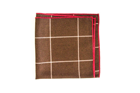 Brown and Red Pocket Square