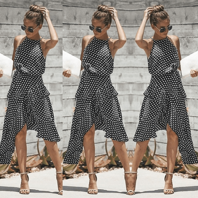 Halterneck Polka Dot Dress With Ruffles