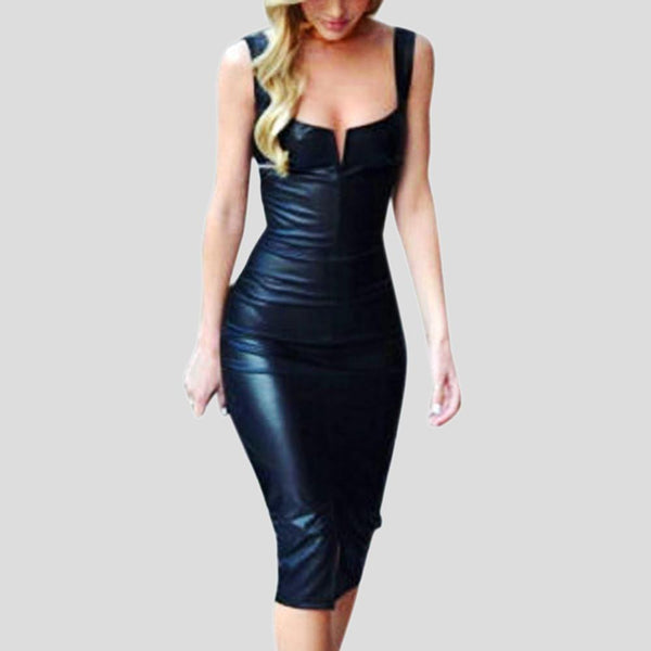 Faux Leather Dress dresses - Ultamodan