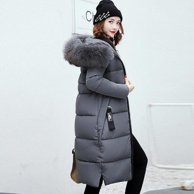 Long Winter Down Coat with Fur Hood