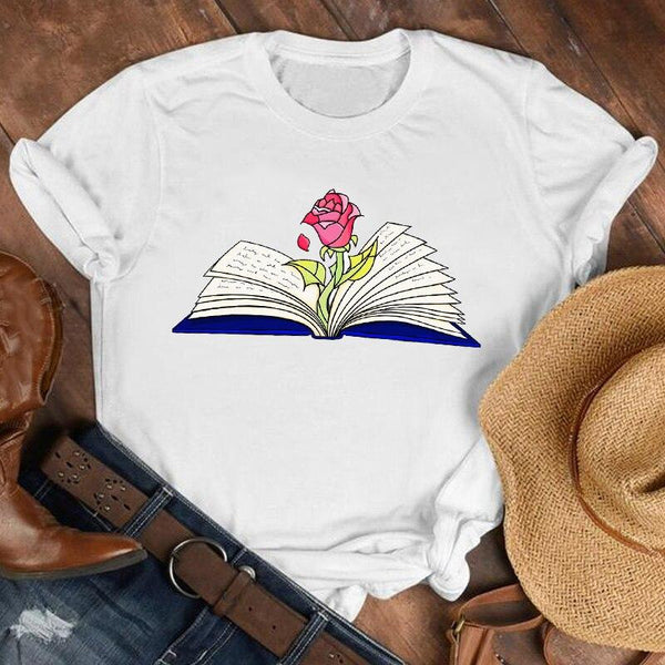 Short Sleeve Rose Print 80s Plus Size T-Shirt