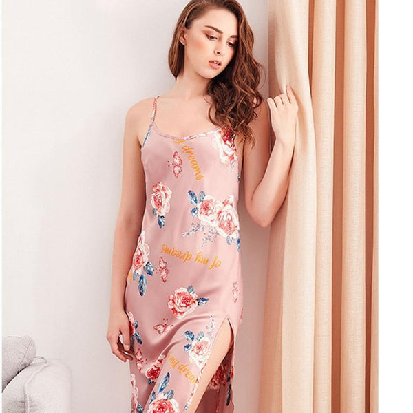 Spaghetti Floral Print Nightdress With Side Split