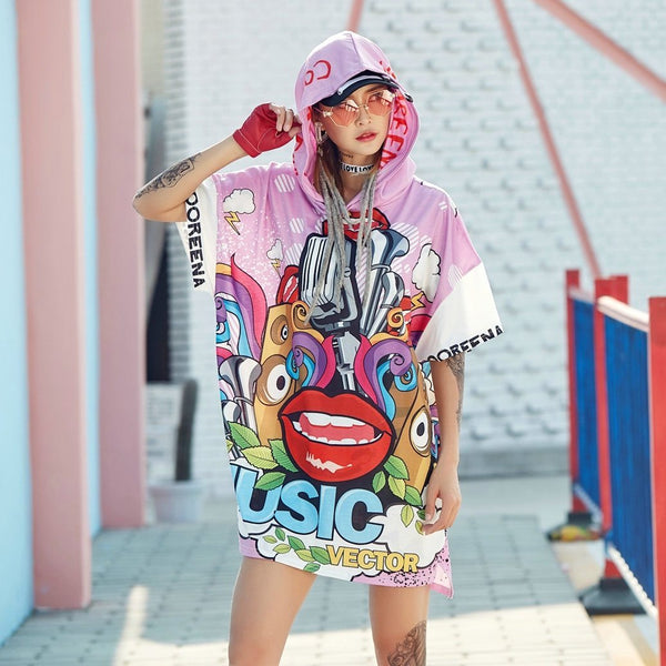 90s Inspired Cartoon Printed Short Sleeve T-Shirt With Hood