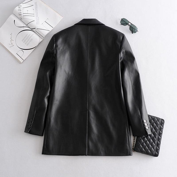 Oversized Faux Leather Single Breasted Blazer