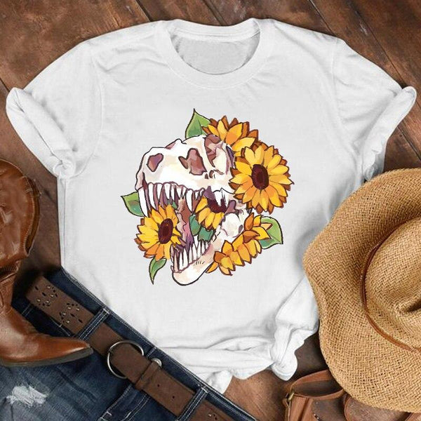 90s Plus Size Sunflower Print Retro T-Shirt