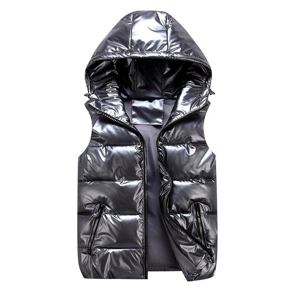 High Shine Puffer Gilet With Hood